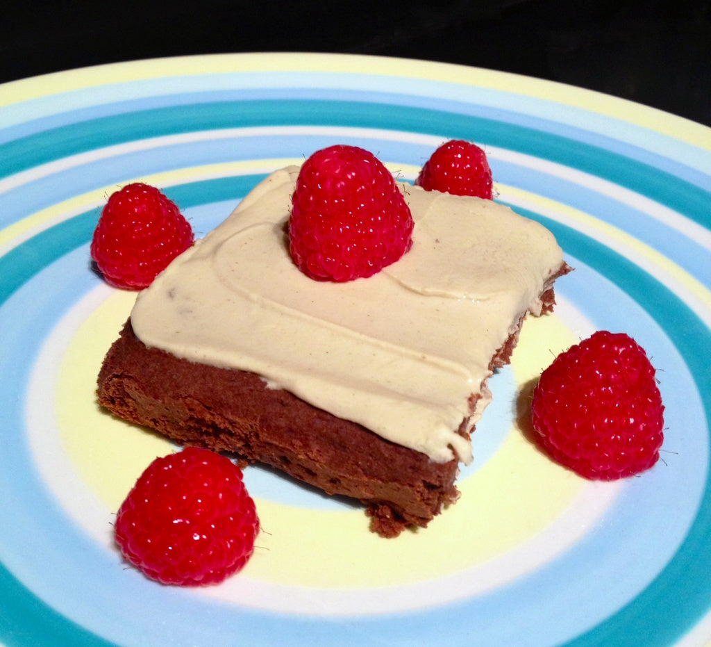 high protein vegan brownies with vanilla protein icing