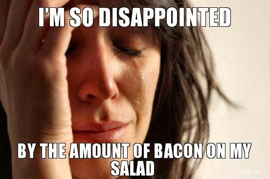 bacon on my salad - vegan problems