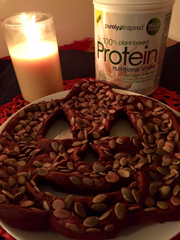 low carb vegan pumpkin spice protein cake