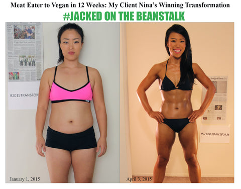 vegan wins bodybuilding.com 12 week transformation challenge nina nam team jacked on the beanstalk vegan coaching