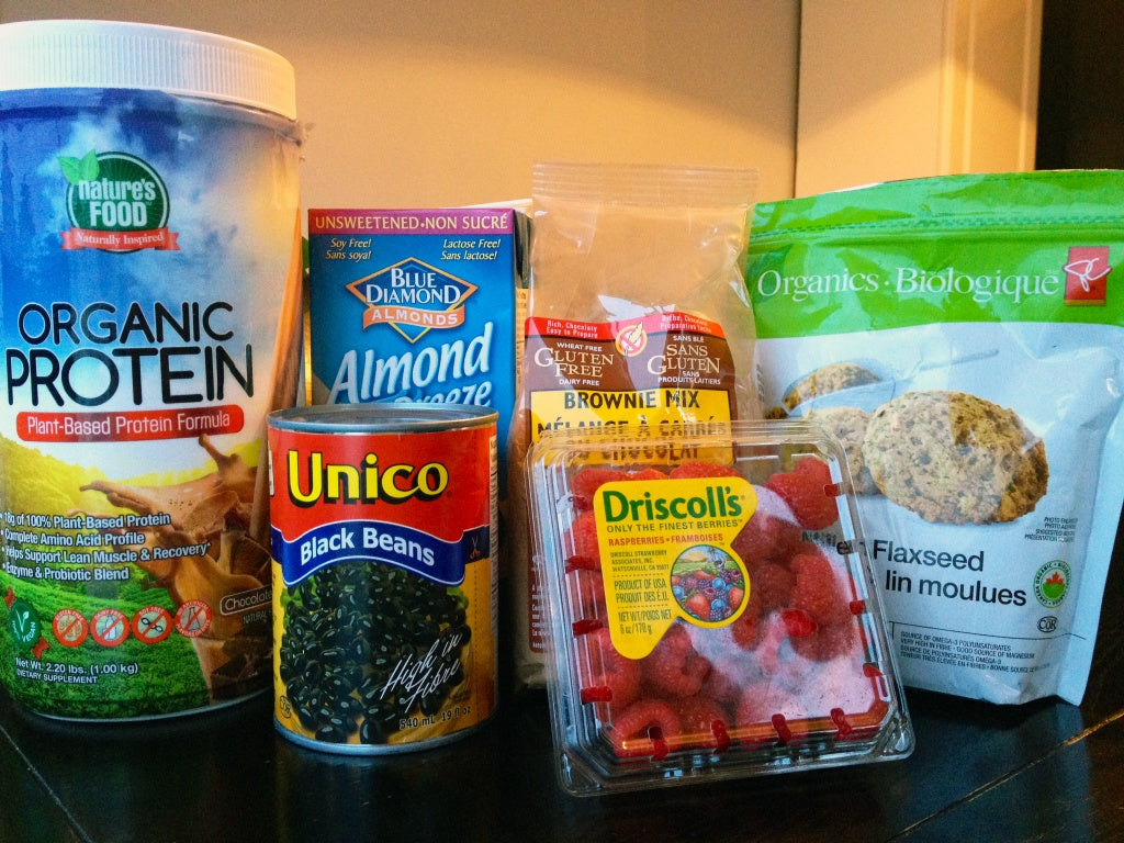 ingredients for high protein vegan brownies with vanilla protein icing
