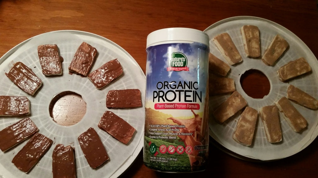 protein powder covered tofu jerky