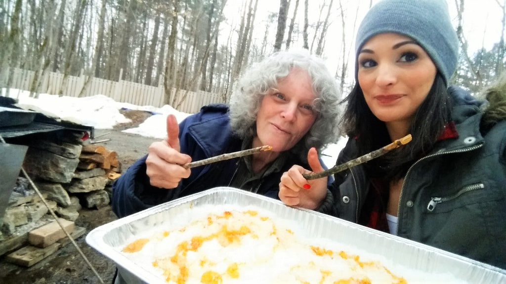 sam shorkey and nora shorkey maple syrup making