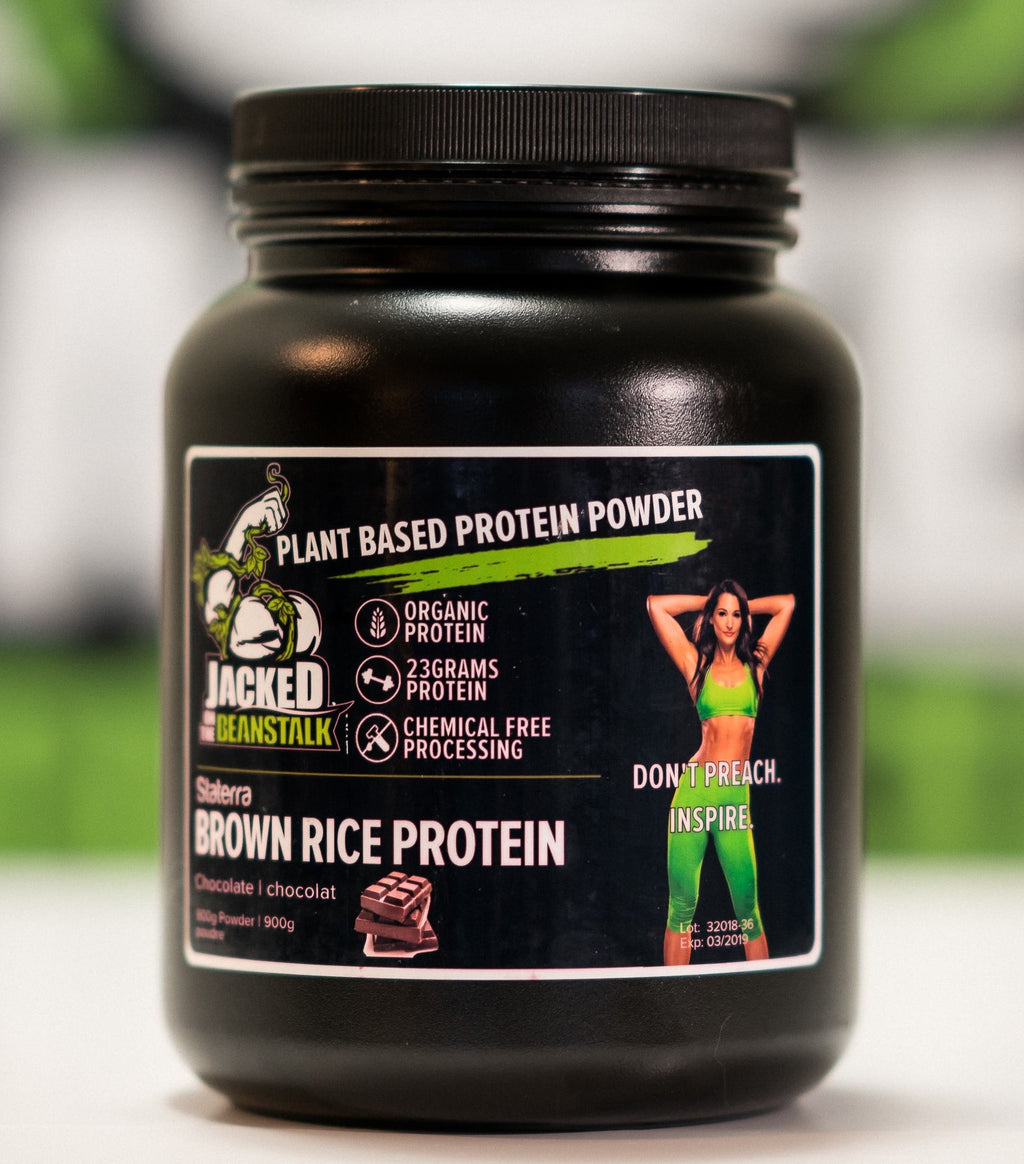 Jacked on the Beanstalk low carb brown rice vegan protein powder chocolate
