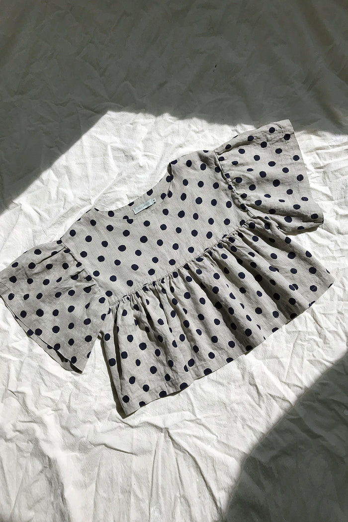KELLY TOP LINEN NAVY DOT
