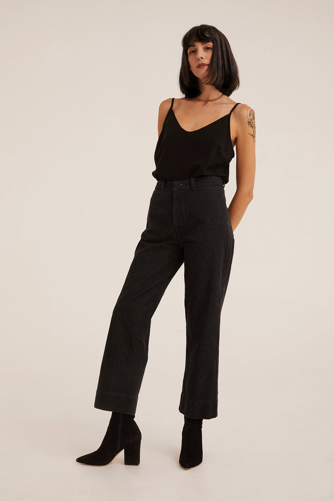 INES PANTS WASHED BLACK DENIM