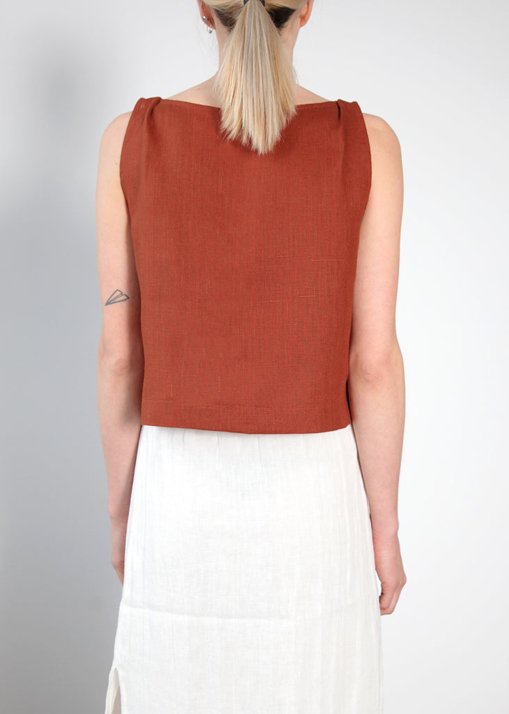 MEG TOP RUST LINEN