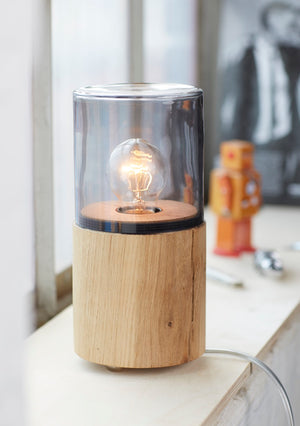 Lantern - Oak - Smoke Glass