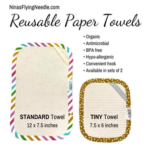 Set of 2 TINY Reusable Paper Towels - Aww Shucks
