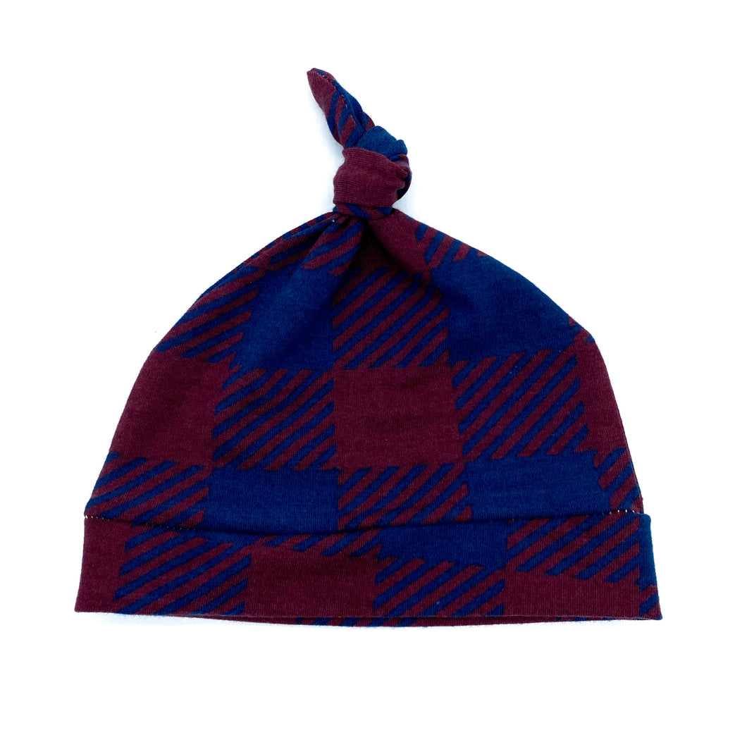 Newborn Knot Hat Plaid in Blue and Burgundy