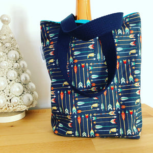 Toddler Sized Reversible Tote Holiday Mini Plaid with Metallic Gold