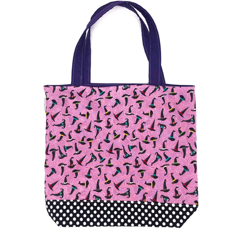 Children's Library Book Sized Reversible Tote Witches Hats and Polka Dots