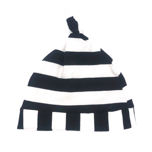 Newborn Knot Hat White Black Stripe