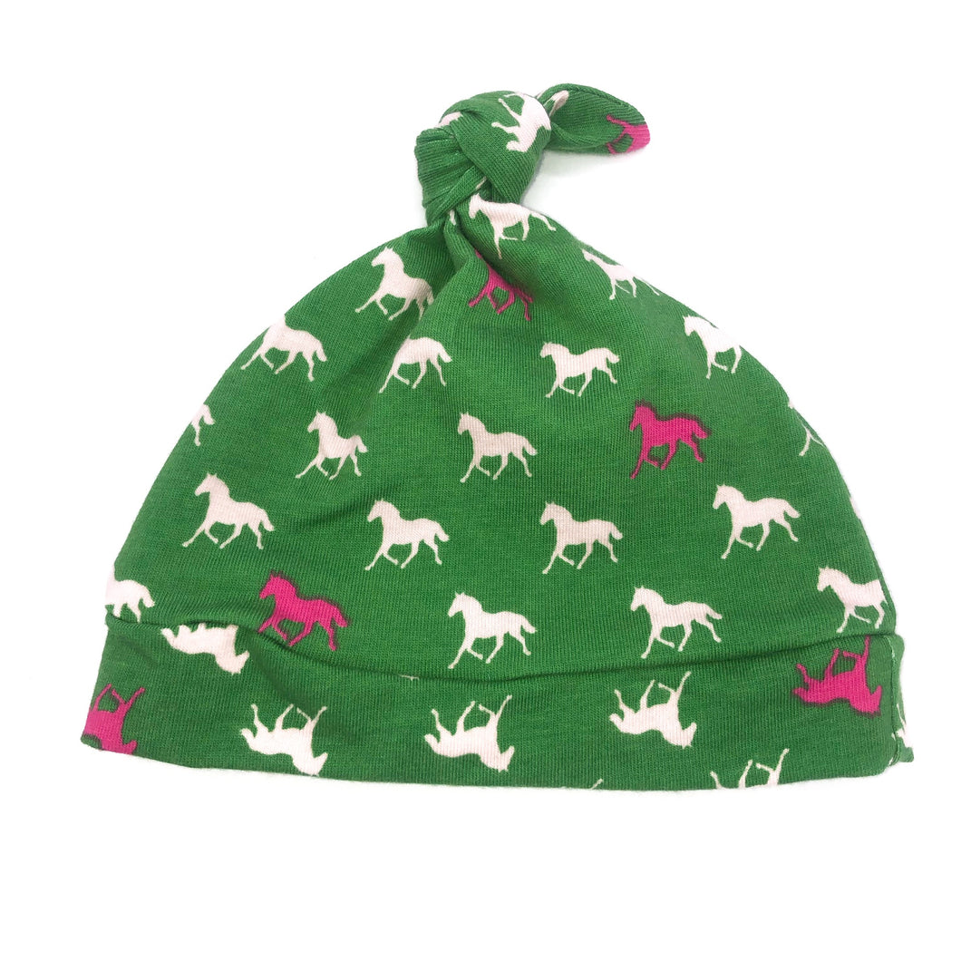 Newborn Knot Hat Horses on Green