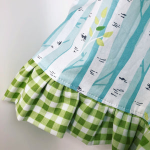 Twirl Skirt Birch Trees Birds Gingham