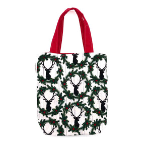 Toddler Sized Reversible Tote Deer Christmas Wreaths