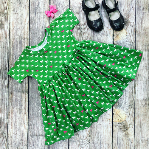 Playful Twirl Dress Size 4T - Horses on Green - Sample Sale