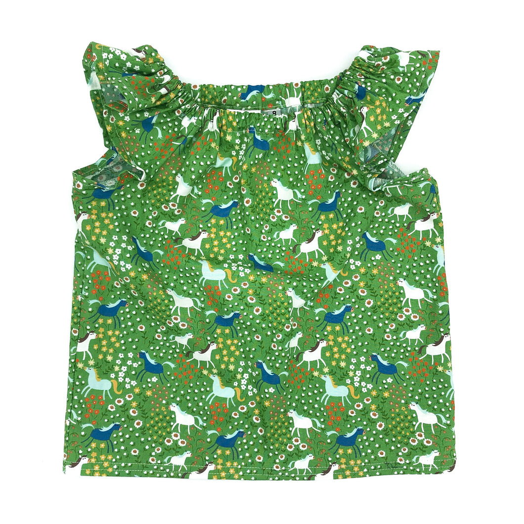 Flutter Sleeve Top - Size 7/8 YRS - Horses on Green - Sample SALE
