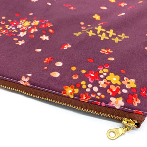 Large Wet Bag with Handle Floral with Gold Accents and Gold Metal Zipper