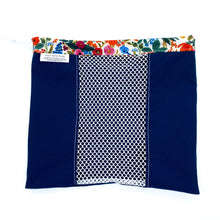 Small Produce Bag Solid Navy with Floral