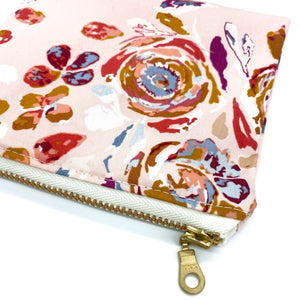 Toddler Sized Reusable Zippered Bag Rose Floral and Gold Zipper