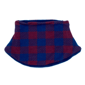 Adult Handmade Neck Warmer Plaid Blue and Burgundy