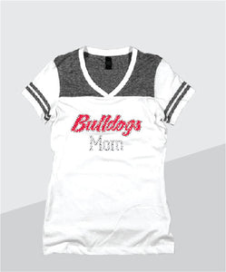 Bulldogs Ladies Color Block Glitter V-Neck (Junior Fit)