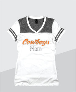 Cowboys Ladies Color Block Glitter V-Neck (Junior Fit)