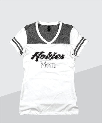 Hokies Ladies Color Block Glitter V-Neck (Junior Fit)