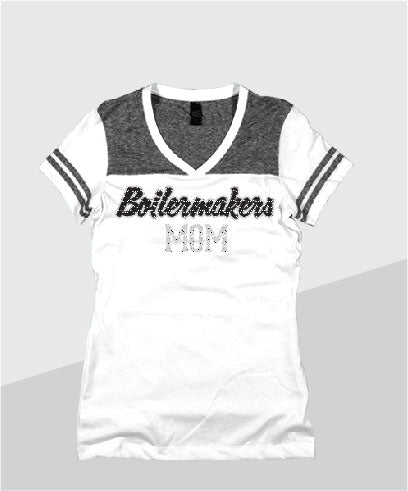 Boilermakers Ladies Color Block Glitter V-Neck (Junior Fit)