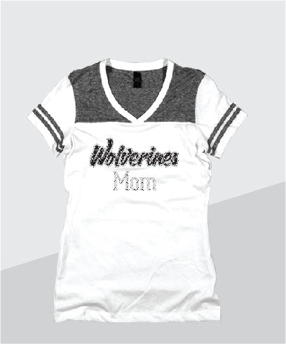 Wolverines Ladies Color Block Glitter V-Neck (Junior Fit)