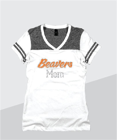 Beavers Ladies Color Block Glitter V-Neck (Junior Fit)