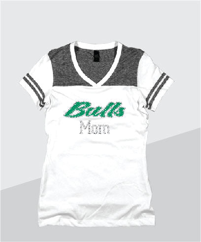 Bulls Ladies Color Block Glitter V-Neck (Junior Fit)