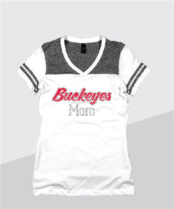 Buckeyes Ladies Color Block Glitter V-Neck (Junior Fit)