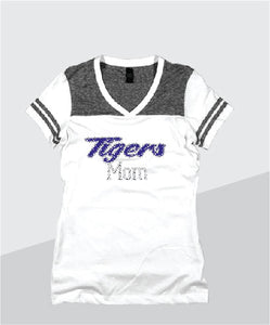 Tigers Ladies Color Block Glitter V-Neck (Junior Fit)