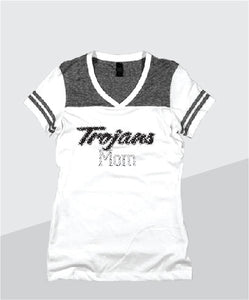 Trojans Ladies Color Block Glitter V-Neck (Junior Fit)