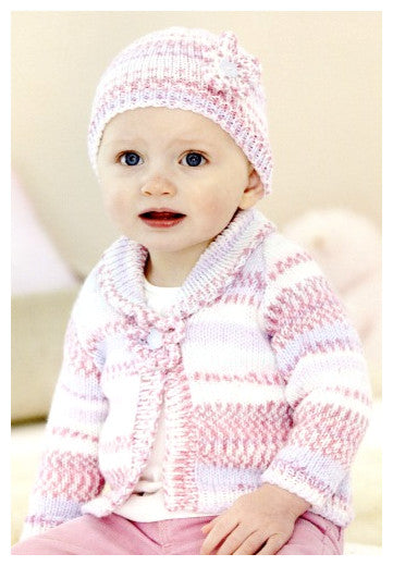 Sirdar Book 501 - Cute Crofter Chums - Design 4675 - One Button Cardigan and Hat with Floral Embellishment