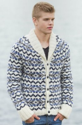 Lopi Book 33 - Design 4 Rokkur - Fair Isle Cardigan with Shawl Collar