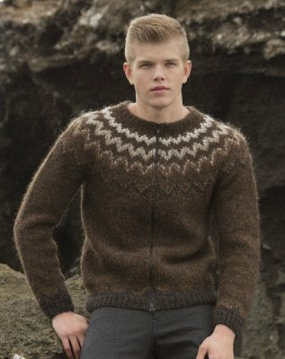 Lopi Book 33 - Design 1 Blaer - Zippered Cardigan - Browns