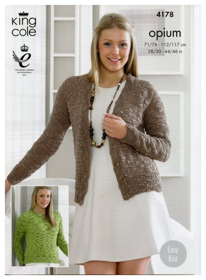 Opium Leaflet 4178 - Long Sleeved Cardigan and Pullover