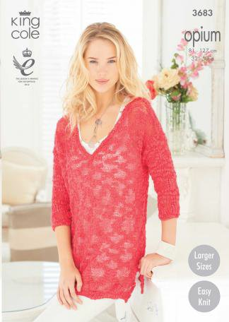 King Cole Opium Leaflet 3683 - V Neck Sweater