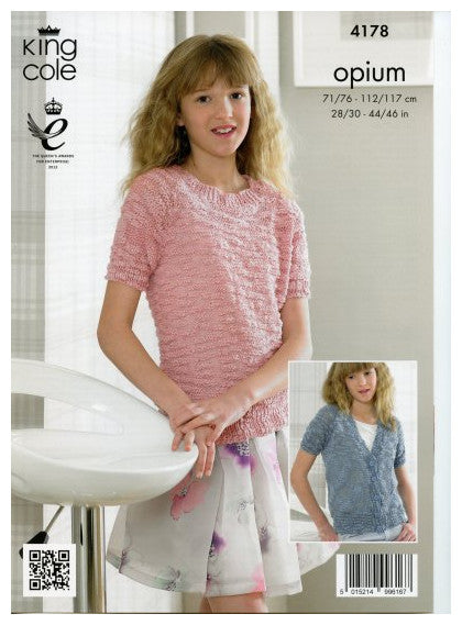 Opium Leaflet 4178 - Short Sleeved Cardigan and Pullover