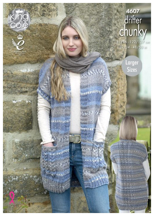 Drifter Chunky Leaflet 4607 - Long Vest with Pockets