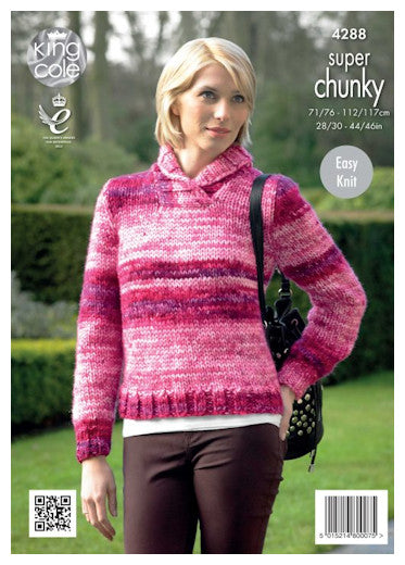 Big Value Super Chunky Tints Leaflet 4288 - Shawl Collar Sweater