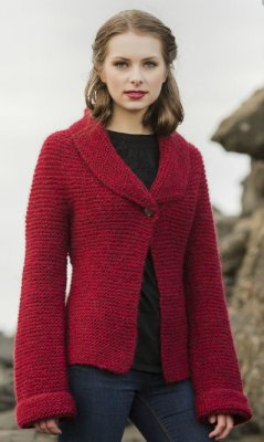 Lopi Book 33 - Design 5 Himinn - One Button Garter Stitch Jacket  - Red