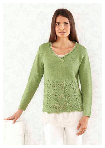Sublime Book 709 - The Fourth Sublime Worsted Design Book - Design 15 - V Neck Pullover with Diamond Lace