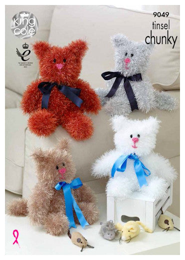 Tinsel Chunky Pattern Leaflet 9049 - Cats in 2 sizes