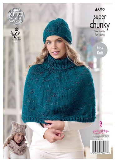 Big Value Super Chunky Twist Leaflet 4699 - Stocking Stitch Cape and Hat; Textured Hat and Cowl