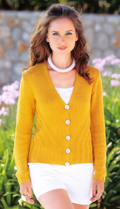 Cotton DK Leaflet 7084 by Sirdar - Cardigan with Long Sleeves