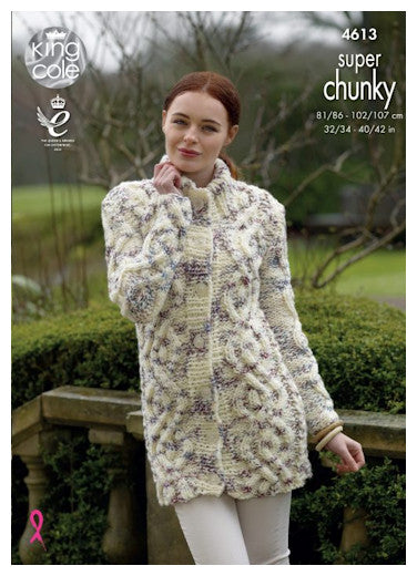 Big Value Super Chunky Twist Leaflet 4613 - Cabled Coat